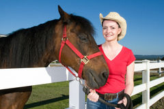 Woman in Cowboy Hat With Horse - Horizontal Stock Photography