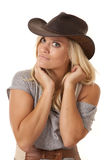 Woman cowboy hat looking Royalty Free Stock Photo