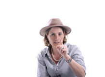 Woman with  cowboy hat making take care gesture Royalty Free Stock Image
