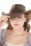 Woman cowboy hat one eye hid Stock Photos