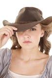 Woman cowboy hat one eye hid Stock Photos