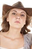 Woman cowboy hat serious Stock Photos