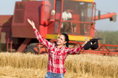 Woman with cowboy hat in wheat field Royalty Free Stock Image