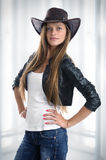 Woman in cowboy hat. Young woman in cowboy hat Royalty Free Stock Image