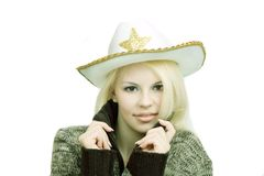 Woman in cowboy`s hat Stock Image