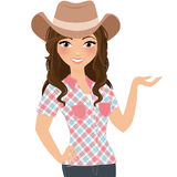 Woman cowgirl avatar pose. Girl in cowboy hat avatar pose Stock Images