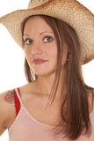 Woman Cowgirl Hat Close Look Serious Royalty Free Stock Images