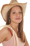Woman cowgirl hat rope close Stock Photography