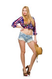 Woman cowgirl isolated Royalty Free Stock Photo