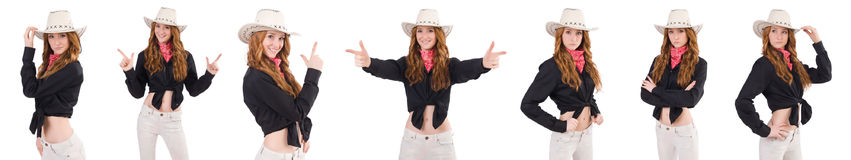 The woman cowgirl isolated on white. Woman cowgirl isolated on white Royalty Free Stock Photos