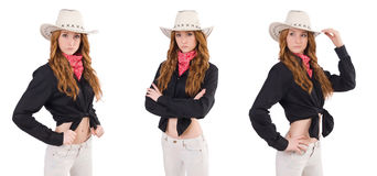 The woman cowgirl isolated on white. Woman cowgirl isolated on white Stock Images