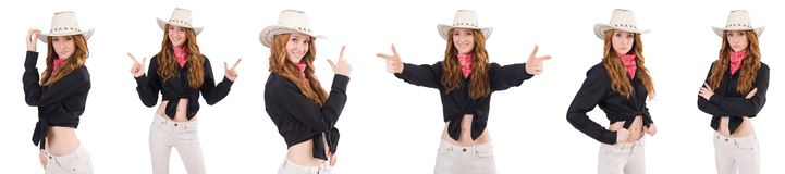The woman cowgirl isolated on white. Woman cowgirl isolated on white Stock Image