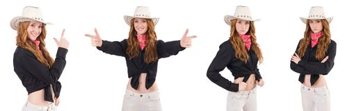 The woman cowgirl isolated on white. Woman cowgirl isolated on white Royalty Free Stock Photography
