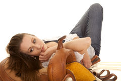 Woman cowgirl white blouse lay look down Stock Images