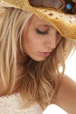 Woman cown girl hat look down close Stock Image