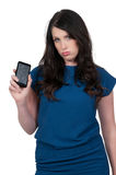 Woman with cracked phone screen. Beautiful woman with a broken cracked phone screen royalty free stock image