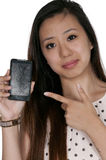 Woman with cracked phone screen Stock Photo