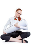 Woman cradling papers Stock Photography