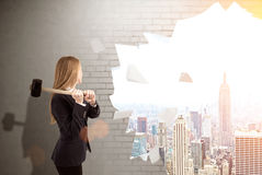 Woman crashed wall to see New York Royalty Free Stock Photography