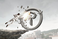 Woman crashing copyrighting sign Stock Photo