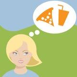 Woman craving junk food royalty free illustration