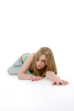 Woman crawling on floor toward camera. In sexy pose Stock Photos