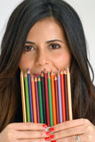 Woman crayon. Royalty Free Stock Photo