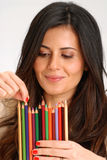 Woman crayon. Royalty Free Stock Image