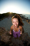Woman crazy on the beach Royalty Free Stock Photo