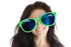 Woman in crazy glasses Royalty Free Stock Photo