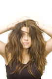 Woman with crazy hairstyle. A woman with crazy hairstyle stock image