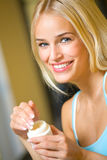 Woman with cream at home Royalty Free Stock Photo
