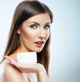 Woman with cream, lotion. Body care style portrait Stock Photos