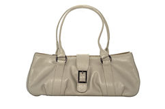 Woman creamy leather bag Royalty Free Stock Photography