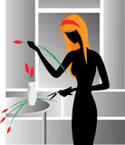Woman creating floral arrangem. Ent . vector illustration. eps8 Stock Photos