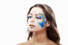 Woman with creative art make up royalty free stock photo