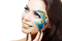 Woman with creative art make up stock photo