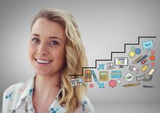 Woman with creative Business graphics drawings Royalty Free Stock Images