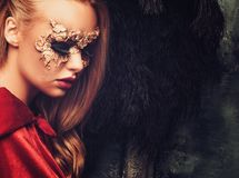 Woman with creative carnival mask Royalty Free Stock Image