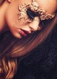 Woman with creative carnival mask Royalty Free Stock Images