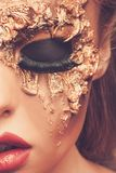 Woman with creative carnival mask Stock Photography