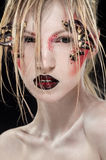 Woman with creative crab makeup stock images