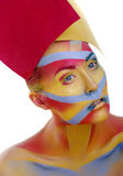 Woman with creative geometry make up, tree color red, yellow, blue Royalty Free Stock Photos