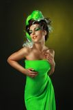 Woman with creative green hairstyle Royalty Free Stock Photography