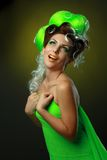 Woman with creative green hairstyle Royalty Free Stock Photos