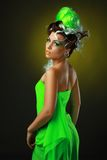 Woman with creative green hairstyle stock photo