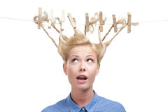 Woman with creative haircut of clothespins Stock Photo