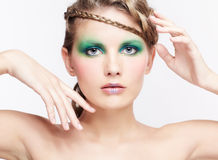 Woman with creative hairdo Stock Photos