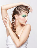 Woman with creative hairdo Royalty Free Stock Images