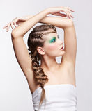 Woman with creative hairdo Royalty Free Stock Image